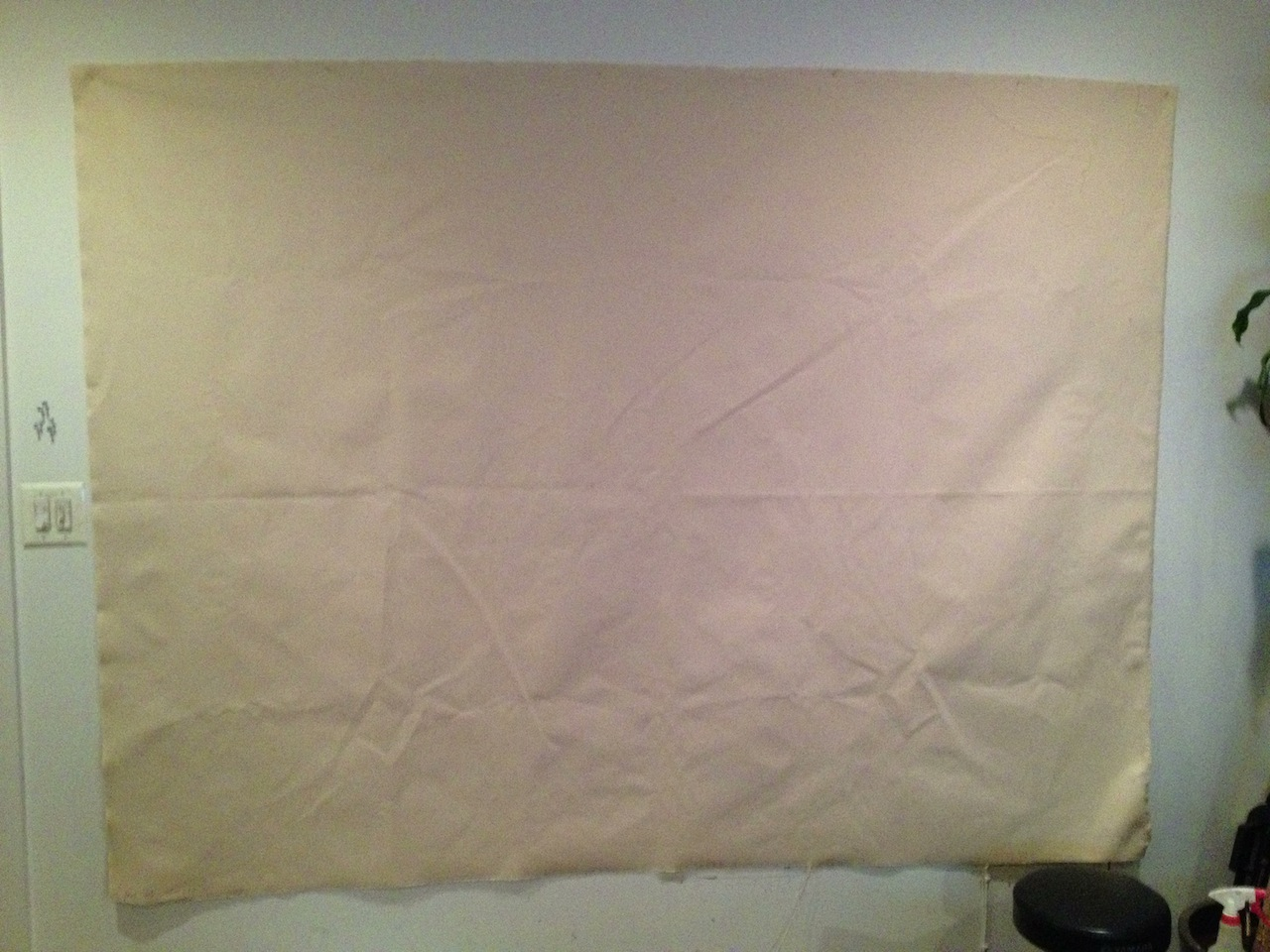2nd Banner for The Hog, 96 x 72 inches. Primed canvas.