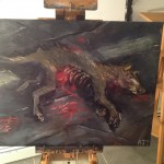 Dead dog oil sketch